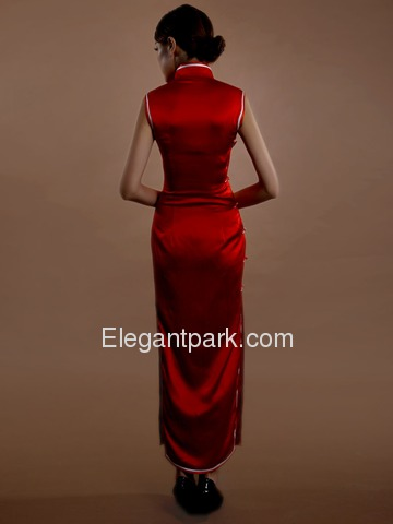 Red Mandarin Sleevelesss Split Full Buttons Ankle Length Silk Traditional Cheongsam