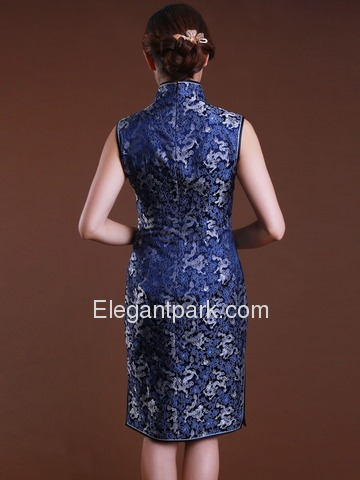 Blue High Neck Sleeveless Knee Length Back Zipper Silk Brocade Traditional Cheongsam
