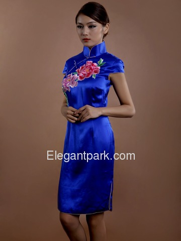Blue High Neck Embroidery Cap Sleeve Knee Length Silk Cheongsam
