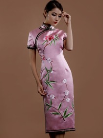 Pink Mandarin Embroidery Split Short Sleeve Tea-length Satin Traditional Cheongsam