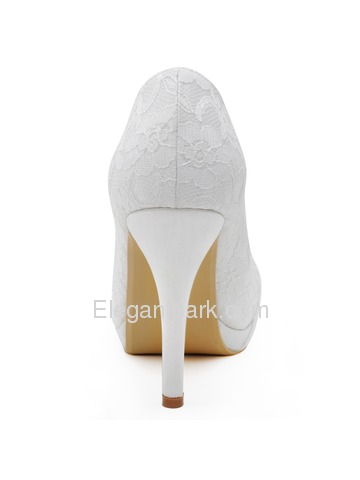 Elegantpark HC1413P Ivory Women Wedding Party Closed Toe Rhinestones Platform Stiletto Heel Lace Bridal Shoes (HC1413P)