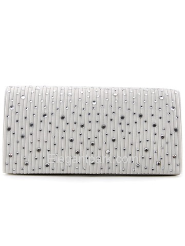 Ivory Square Rhinestones Pleated Clutch with Chain Satin Women Wedding Handbag