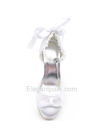 Elegant Closed Toe Stiletto Heel Bowknot Satin Bridal Evening Party Shoes A3202C-PF (A3202C-PF)