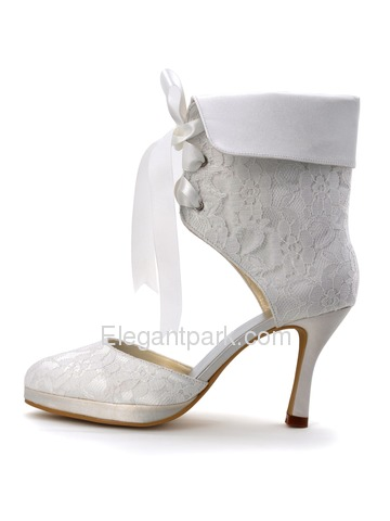 Elegantpark Wedding Party Satin Stiletto Lace Closed Toe Heel Pumps Platform Ankle Bridal Boots (EP11055C-PF)