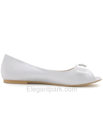 Elegantpark White Peep Toe Bowknot Rhinestone Flat Satin Wedding Evening Party Shoes (EP11102)