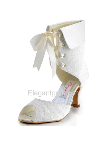 Elegantpark Modern Peep Toe Lace Spool Heel Bridal Wedding Ankle Boots with Ribbon Tie (EP11055)
