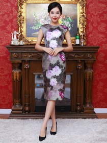 Silver Women Knee-length Short Sleeves Flower-printed Silk Cheongsam