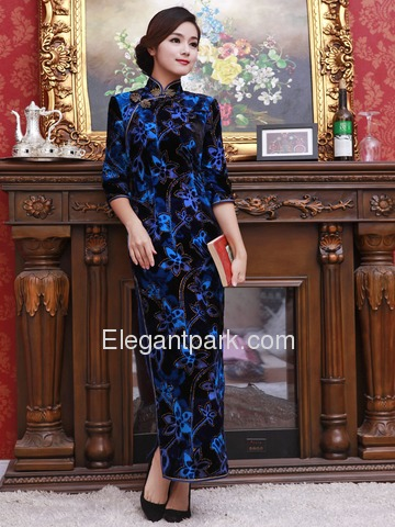 Royal Blue Women Ankle-length Half Sleeves Split Side Flower-printed Silk Velour Cheongsam