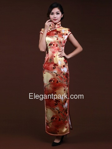 Orange Women Ankle-length Short Sleeves Split Side Flower-printed Silk Cheongsam