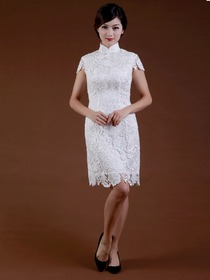 White Women Short Knee-length High Neck Cap Sleeves Lace Cheongsam