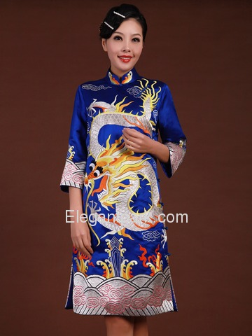 Blue Women Embroidery Cloud Dragon Knee-Length Three-Quarter Cheongsam