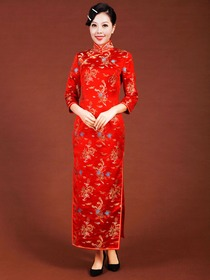 Red Women Dragon Phoenix Silk Three-Quarter Ankle-Length Traditional Cheongsam