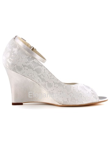 Elegantpark White Ivory Peep Toe Lace Satin Tie Wedges Wedding Bridal Shoes (WP1415)