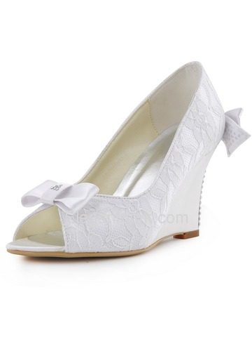 Elegantpark White Ivory Peep Toe Lace Satin Bow Rhinestones Wedges Wedding Bridal Shoes (WP1414)