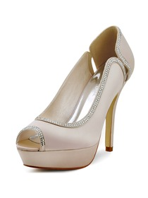 Elegantpark New Silver Nude Navy Blue Ivory Satin Peep Toe Platform Party Shoes