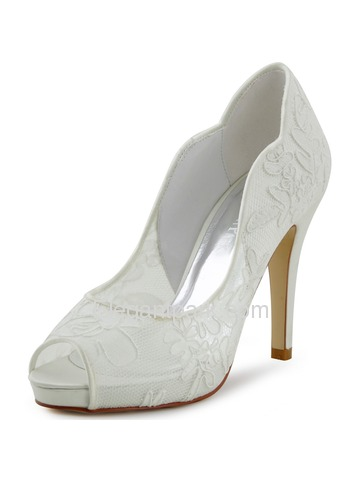 Elegantpark New Ivory Lace Satin Peep Toe High Heels Platforms Wedding Pumps Shoes (HP1504I)