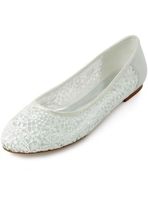 Elegantpark New Ivory Lace Flower Satin Closed Toe Flats Wedding Party Shoes