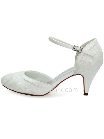 Elegantpark New White Ivory Lace Closed Toe High Heels Strap Wedding Party Shoes (HC1508)