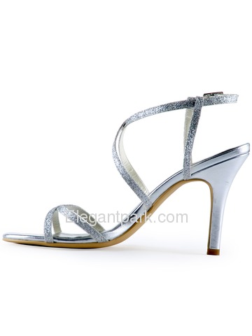 Elegantpark Silver Open Toe Buckle Stiletto Heel Satin Wedding Evening Party Sandals (HP1520)