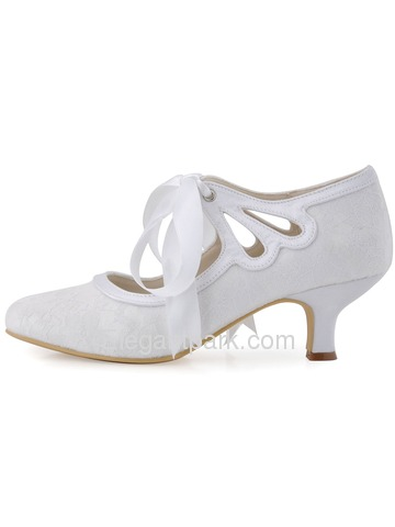 Elegantpark Ivory Closed Toe Women Ribbon Tie Mid Heel Lace Wedding Shoes(More color) (HC1521)