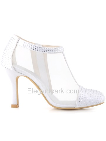 Elegantpark Women White Closed Toe Rhinestones Satin Wedding Pumps (HC1524)