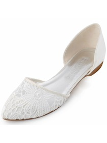 New 2015 ElegantPark Women's Pointy Toe Satin Lace Fat Bridal Wedding Shoes