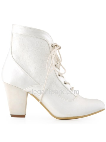 ElegantPark New Arrival Closed Toe Chunky Heel Satin Lace Bridal Wedding Boots (HC1528)
