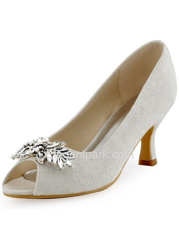 ElegantPark White Ivory Lace Pumps Women Peep Toe Leaves Clip Buckle Wedding Bridal Shoes (HP1538)
