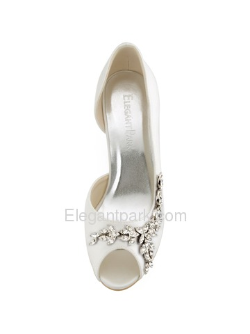 Elegantpark Peep Toe Satin Buckle Stiletto Heel Bridal Women Shoes (HP1542)