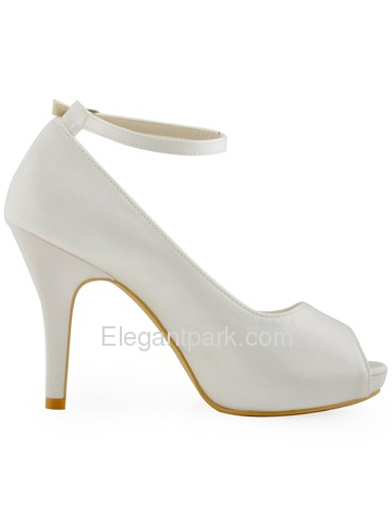 Elegantpark Platform Peep Toe Stiletto Heel Satin Evening & Party Bridal Shoes (HP1543I)