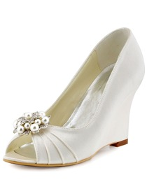 ElegantPark Ivory Champagne Satin Double Pearls Peep Toe Women Wedges Wedding Party Shoes