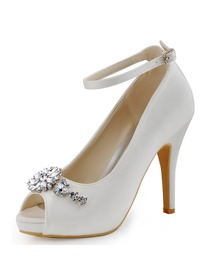 Elegantpark Ivory White Women Peep Toe Buckle Flower Platforms Stiletto Heel Bridal Shoes