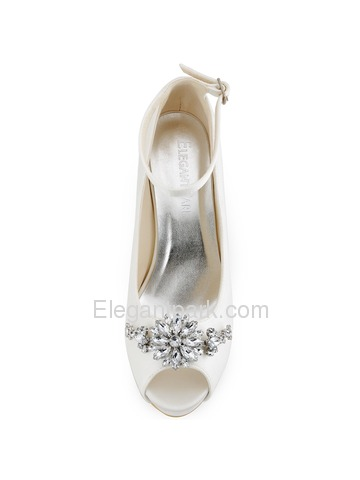 Elegantpark Ivory White Women Peep Toe Buckle Flower Platforms Stiletto Heel Bridal Shoes (HP1546I)
