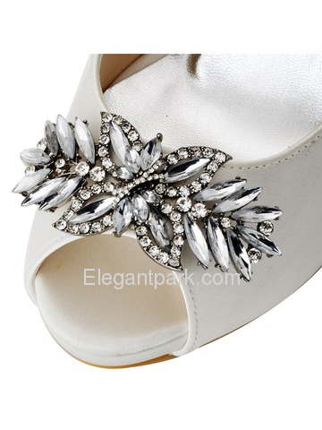 ElegantPark White Ivory Women Peep Toe Leaves Rhinestones High Heel Satin Bridal Wedding Shoes (HP1550I)