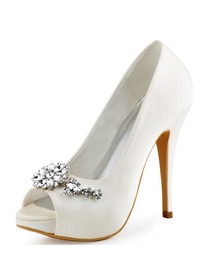 ElegantPark Peep Toe White Buckle Stiletto Heel Satin Women Wedding Shoes