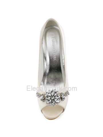 ElegantPark Peep Toe White Buckle Stiletto Heel Satin Women Wedding Shoes (HP1553I)