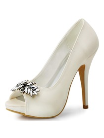 Women Ivory Rhinestones Peep Toe Stiletto Heel Satin Wedding Pumps