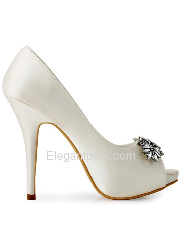 Women Ivory Rhinestones Peep Toe Stiletto Heel Satin Wedding Pumps (HP1551I)