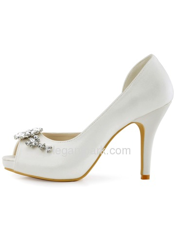 ElegantPark Women White Ivory Peep Toe Rhinestones High Heel Bridal Shoes (HP1552I)