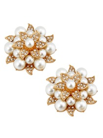 ElegantPark New Fashion Pearls Rhinestones Wedding Party Shoe Clips Two Pieces Including