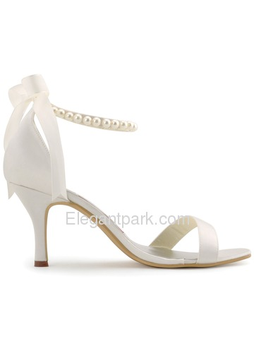 Elegantpark Ivory Open Toe Satin Pearls Wedding Evening Party Sandals (EP11053)