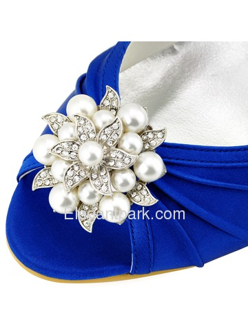 New ElegantPark Peep Toe High Heel Pearls & Rhinestones Shoes-clips Satin Evening Wedding Shoes (EP2094AE)
