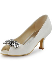 ElegantPark Women Satin Pupms Mid Heel Leaves Clips Buckle Wedding Bridal Shoes
