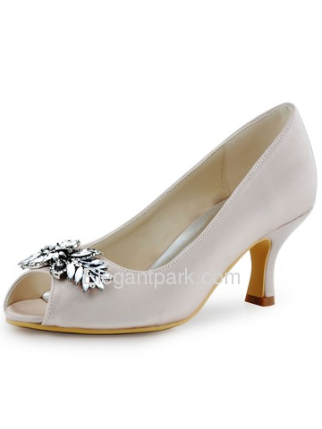 ElegantPark Women Satin Pupms Mid Heel Leaves Clips Buckle Wedding Bridal Shoes (HP1540)
