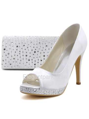 Elegantpark Elegant Peep Toe Stiletto Heel Rhinestones Platform Satin Wedding Bridal Pumps (EP2125-PFHB)