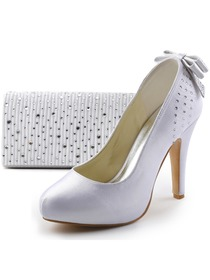 Elegantpark Satin Closed Toe Stiletto Heel Platform Rhinestones Bowknot Evening&Party Shoes Handbag