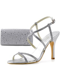 Elegantpark Silver Open Toe Buckle Stiletto Heel Satin Wedding Evening Party Sandals&Handbag