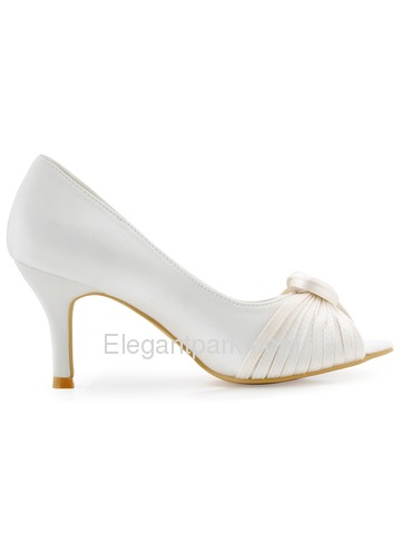 ElegantPark Women White Ivory High Heel Peep Toe Knots Satin Wedding Bridal Shoes (HP1557)