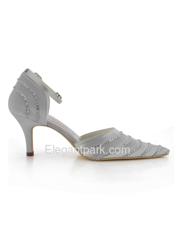 Elegantpark Silver Pointy Toe Stiletto Heel Satin Rhinestones Wedding & Party Shoes & Handbag (EP31013HB)