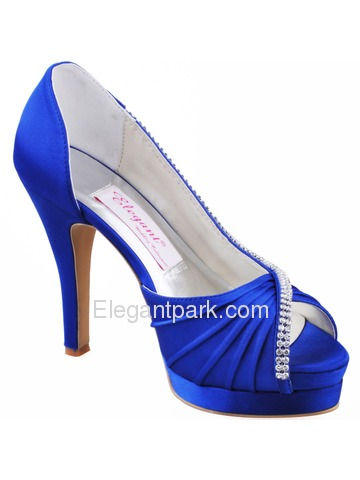 Elegantpark Ruched Peep Toe Pumps Platforms Stiletto Heel Satin Shoes & Handbags (EP11064-IPFHB)